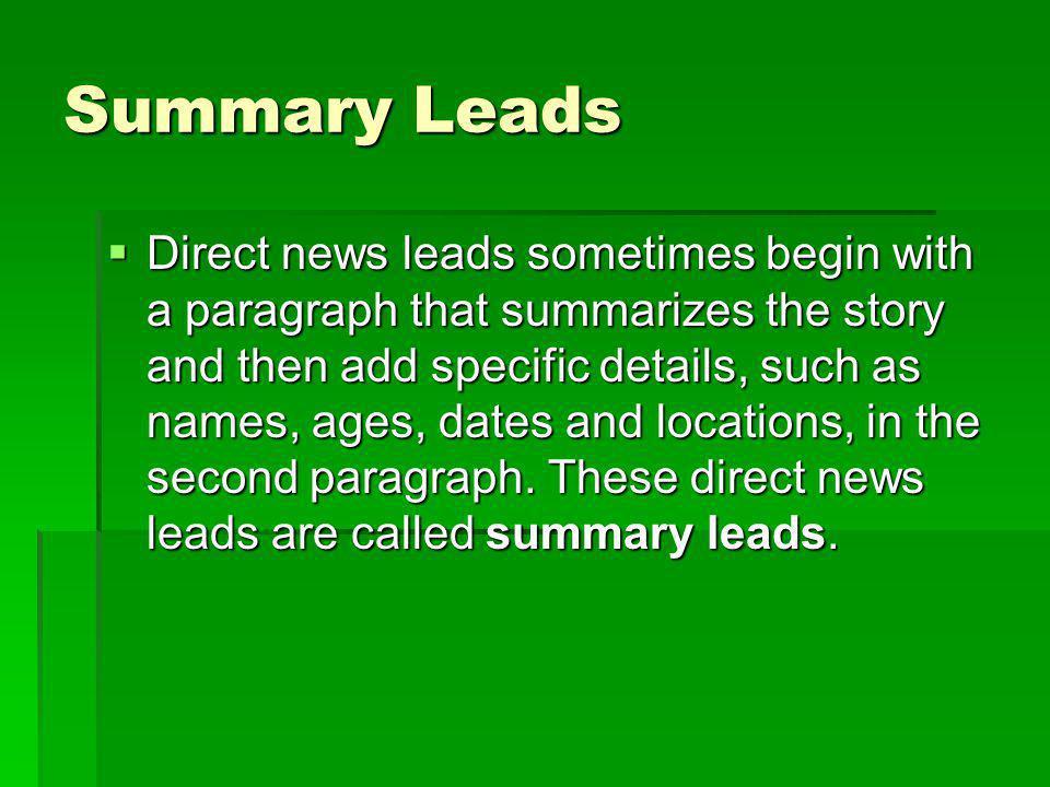 Summary Leads