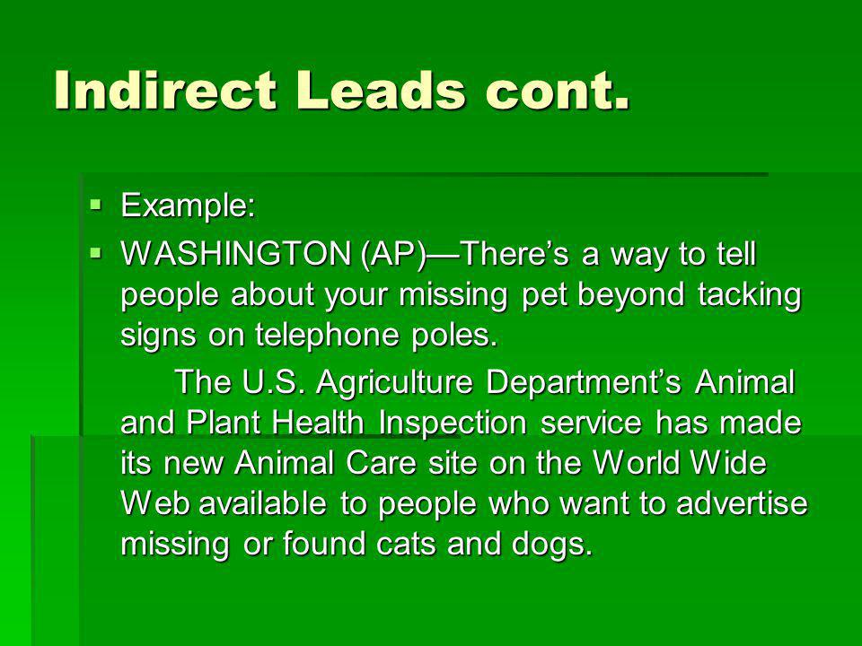 Indirect Leads cont. Example: