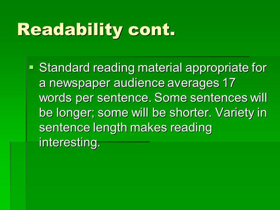 Readability cont.