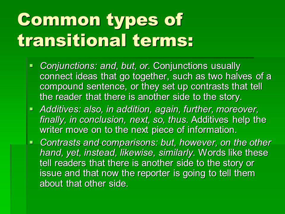 Common types of transitional terms: