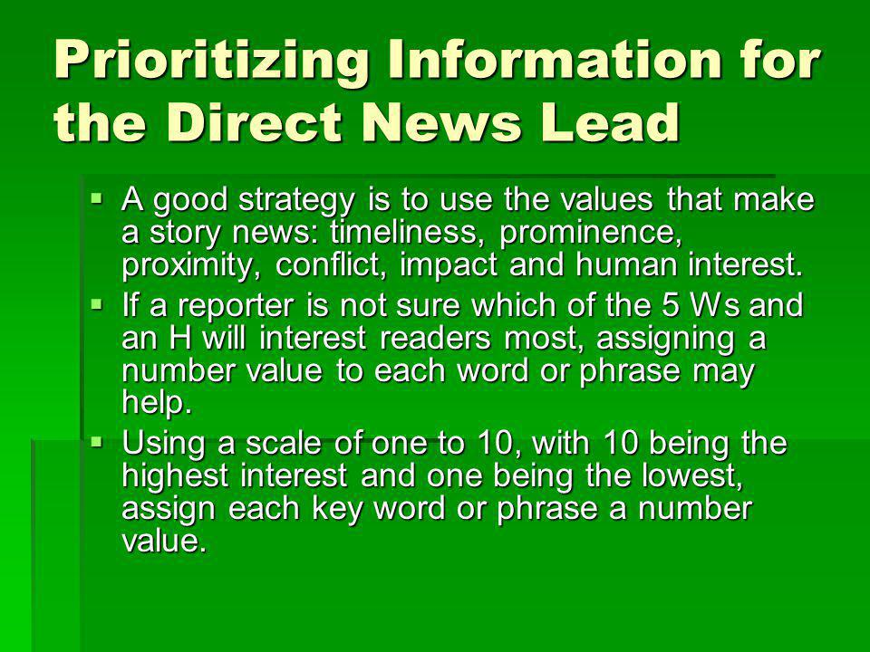 Prioritizing Information for the Direct News Lead