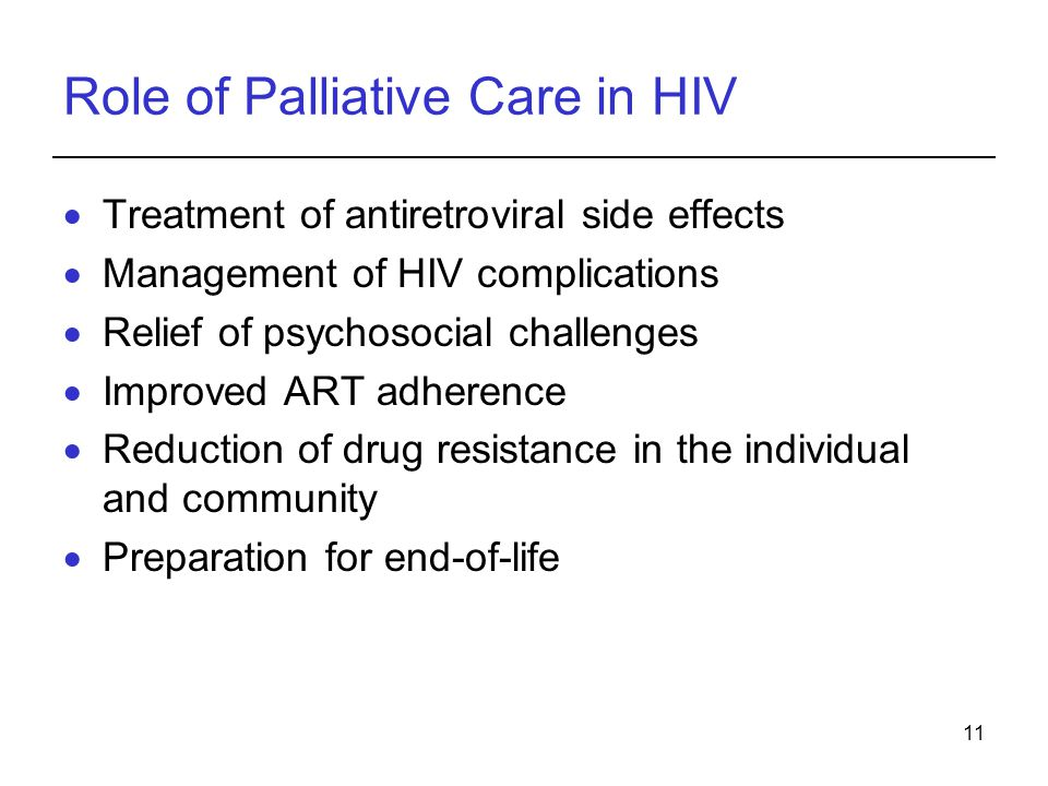 Role of Palliative Care in HIV