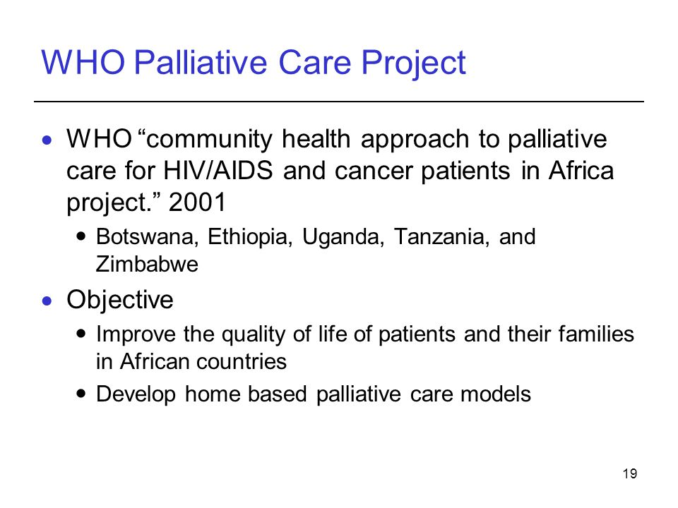 WHO Palliative Care Project