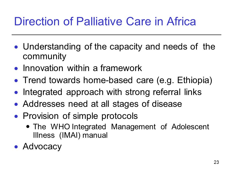 Direction of Palliative Care in Africa