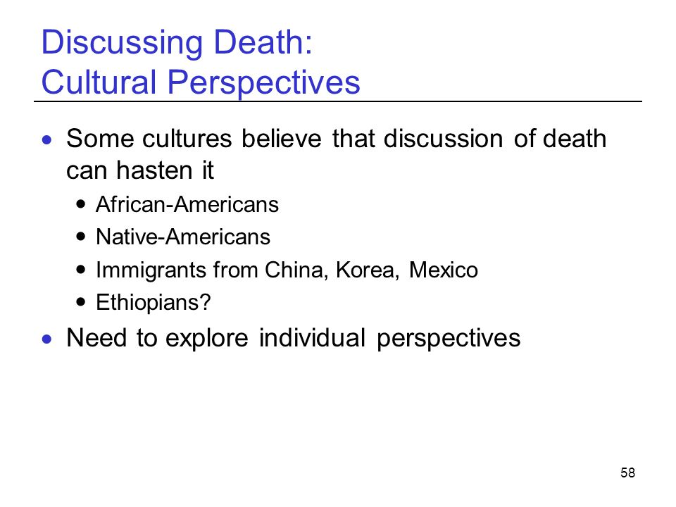 Discussing Death: Cultural Perspectives
