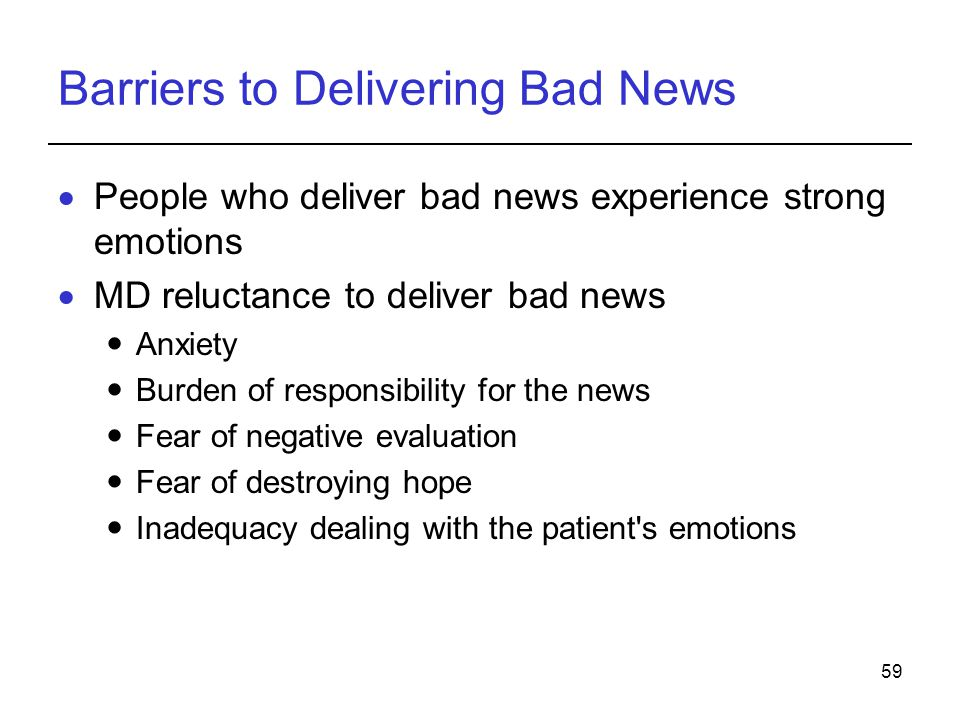 Barriers to Delivering Bad News