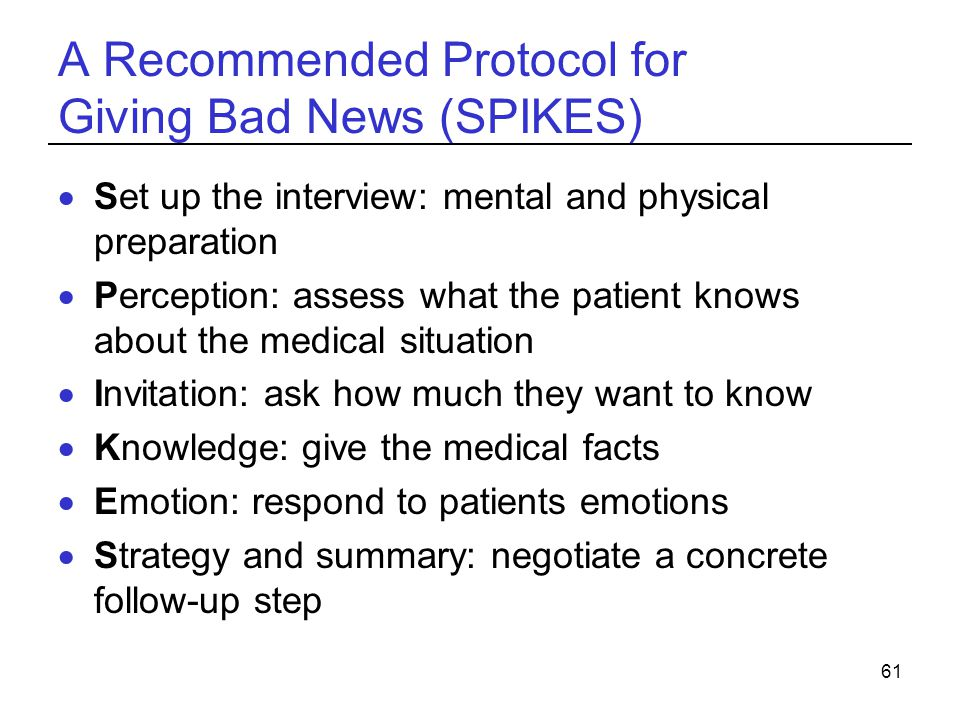 A Recommended Protocol for Giving Bad News (SPIKES)