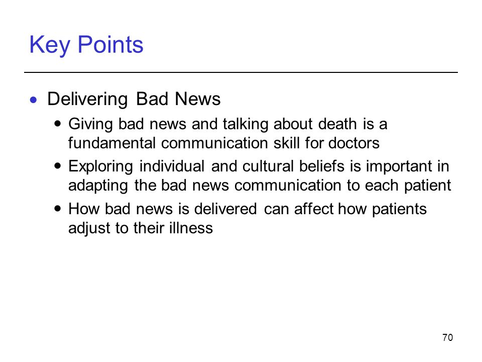 Key Points Delivering Bad News