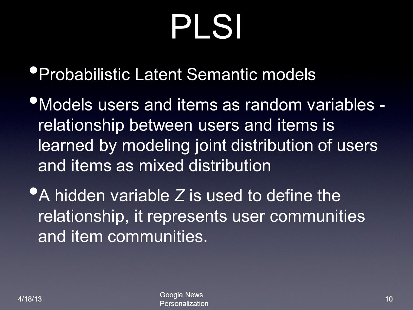 PLSI Probabilistic Latent Semantic models