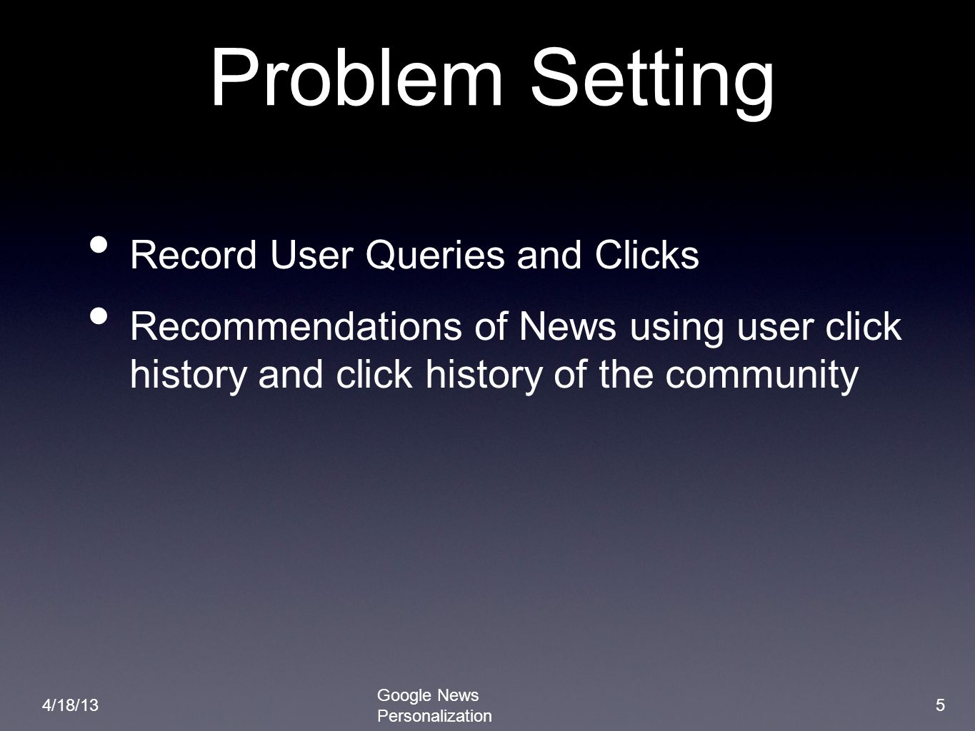 Problem Setting Record User Queries and Clicks