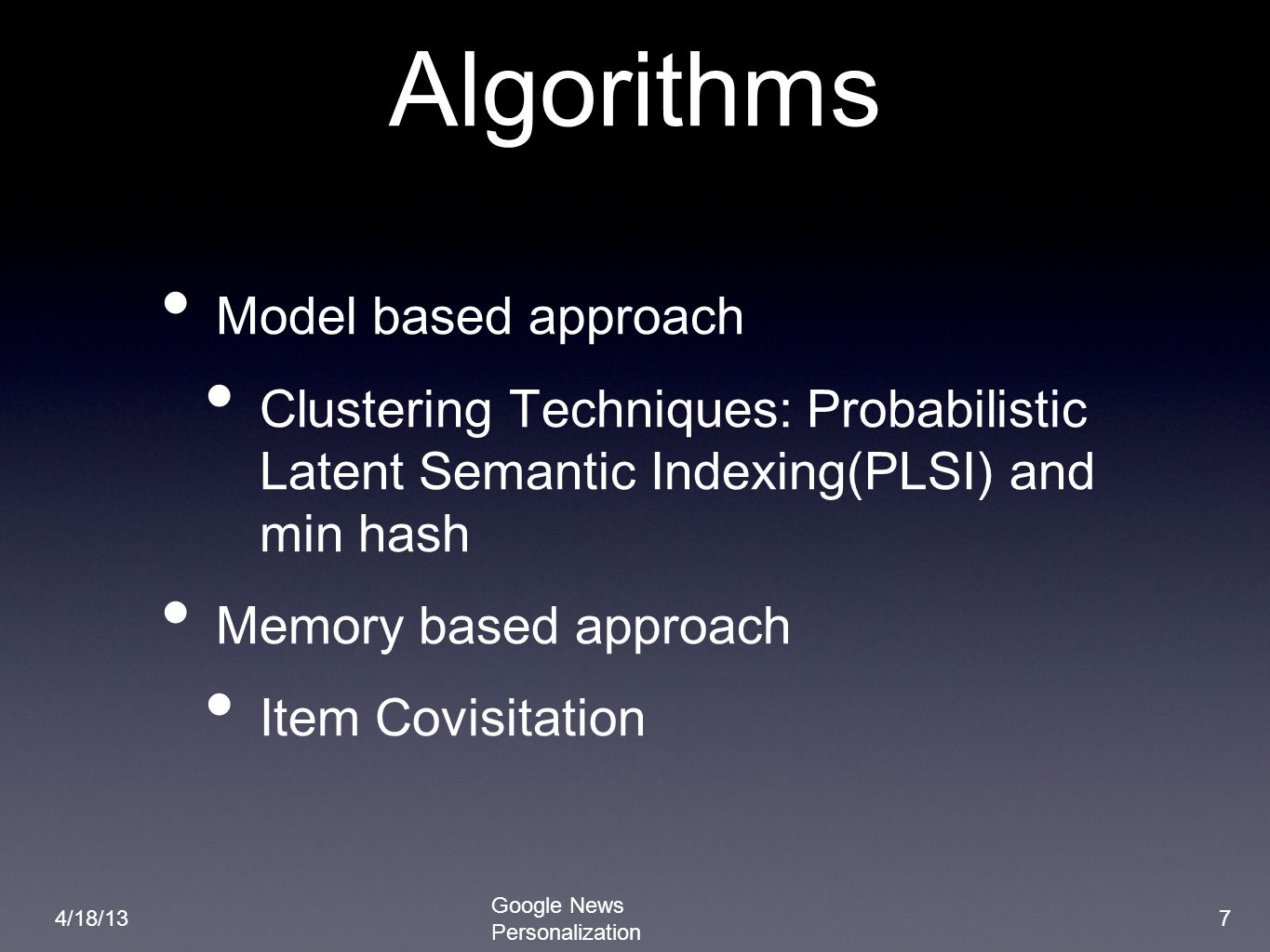 Algorithms Model based approach