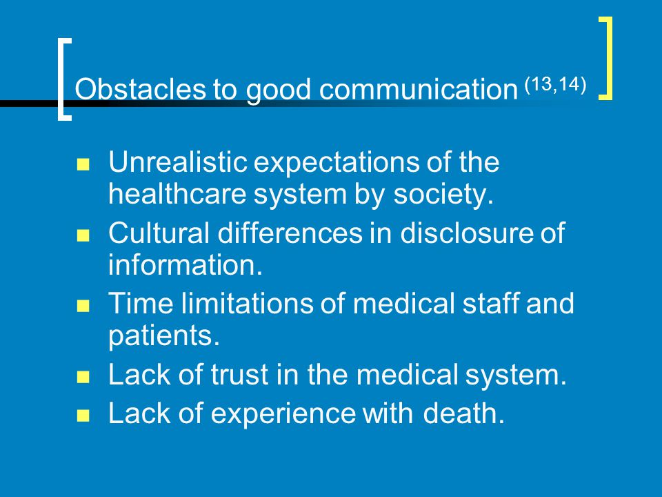Obstacles to good communication (13,14)