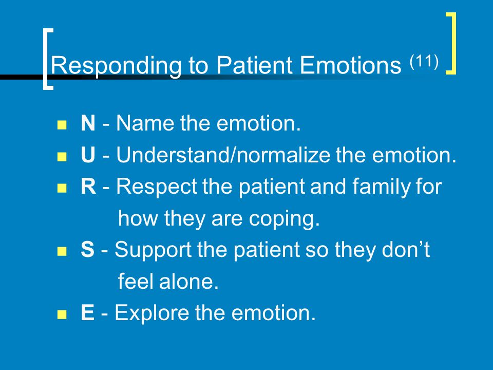 Responding to Patient Emotions (11)