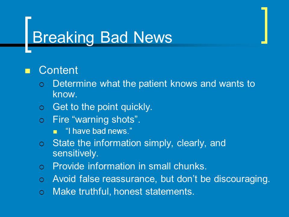 Breaking Bad News Content