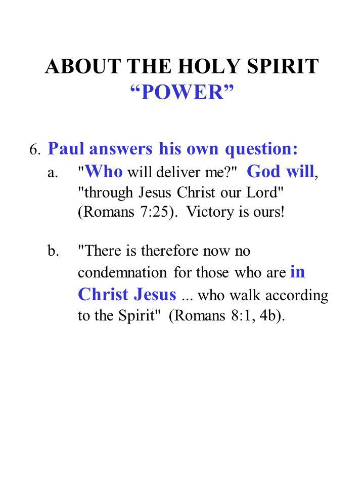 ABOUT THE HOLY SPIRIT POWER