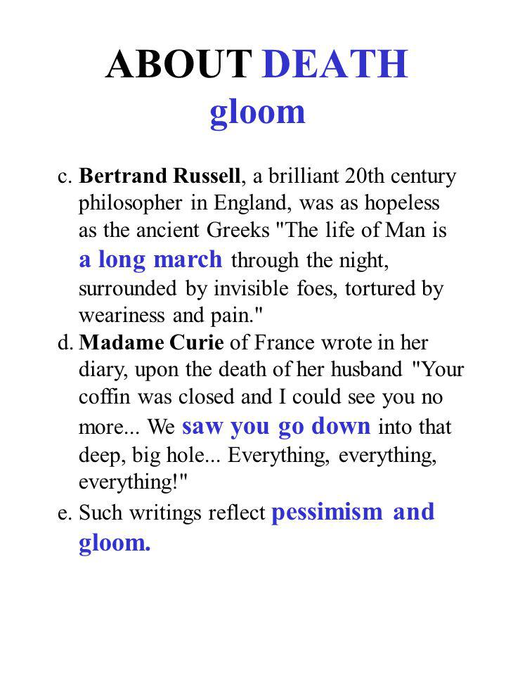 ABOUT DEATH gloom
