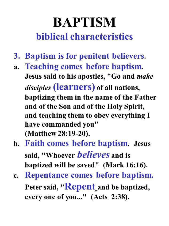 BAPTISM biblical characteristics