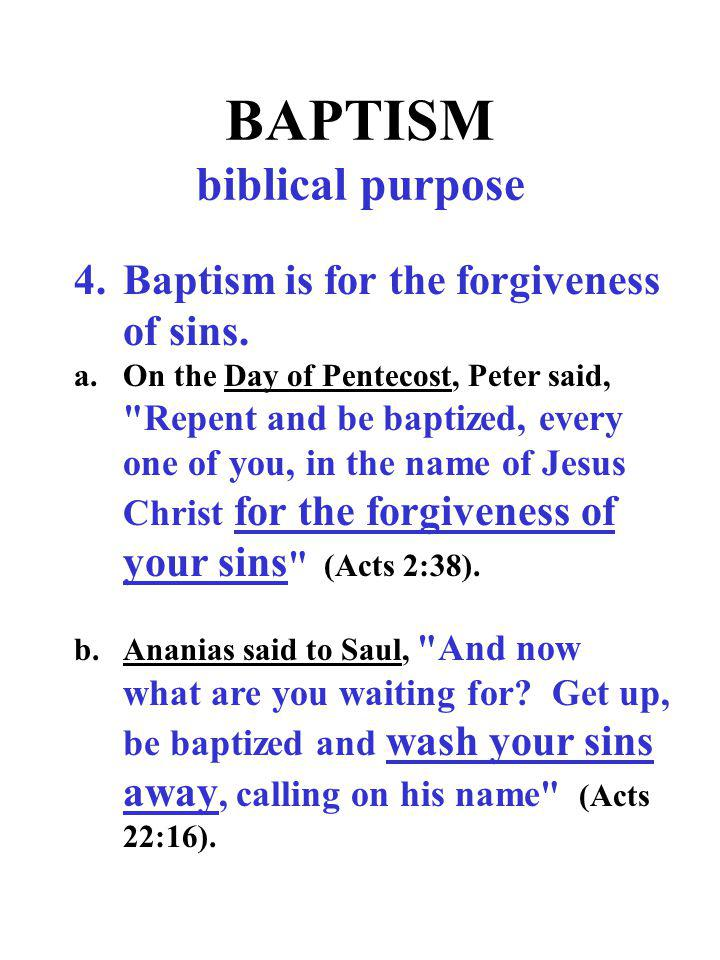BAPTISM biblical purpose