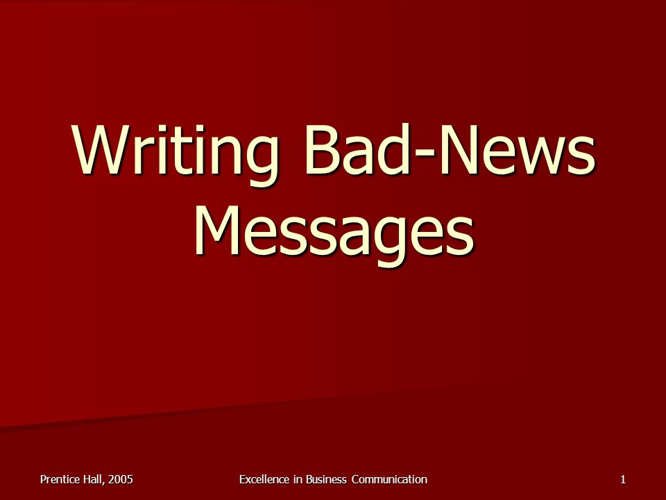 Assignment 2 : Writing Negative Message