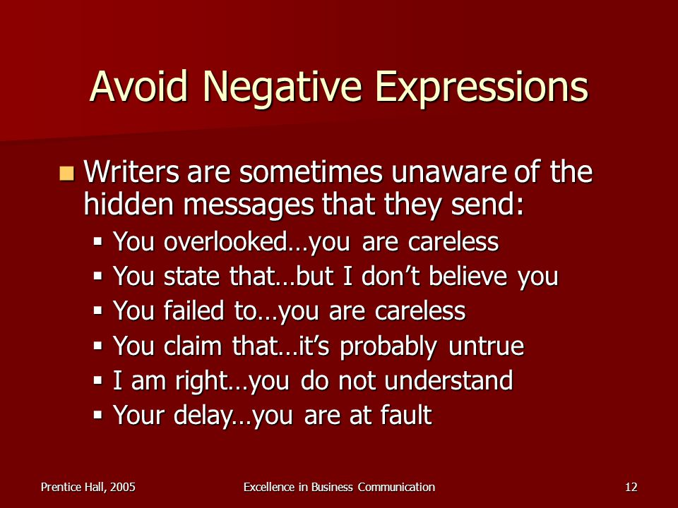 Avoid Negative Expressions