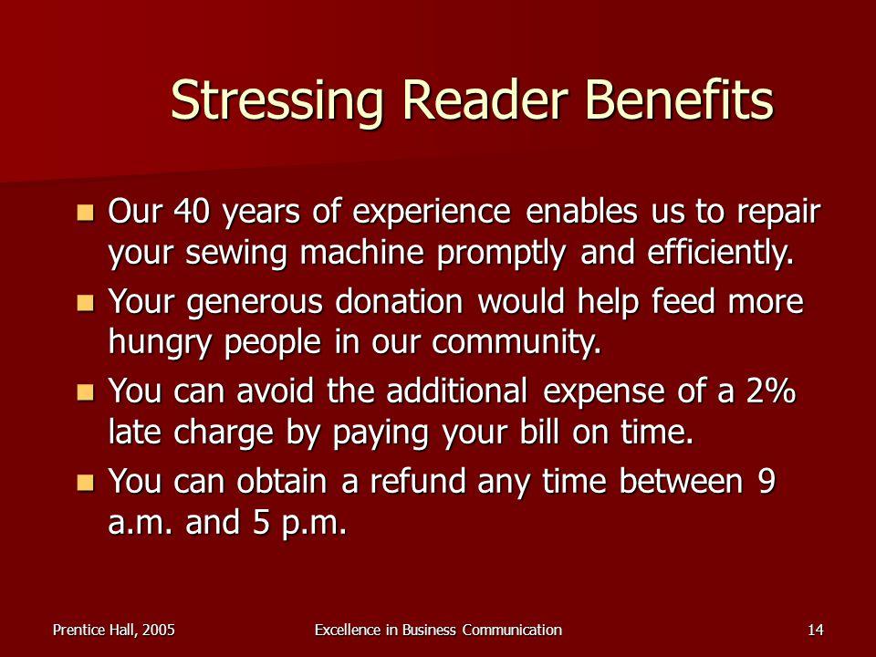 Stressing Reader Benefits