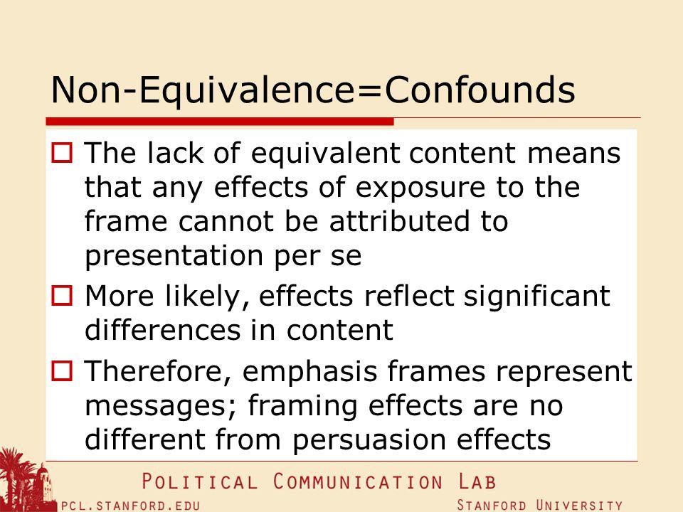 Non-Equivalence=Confounds