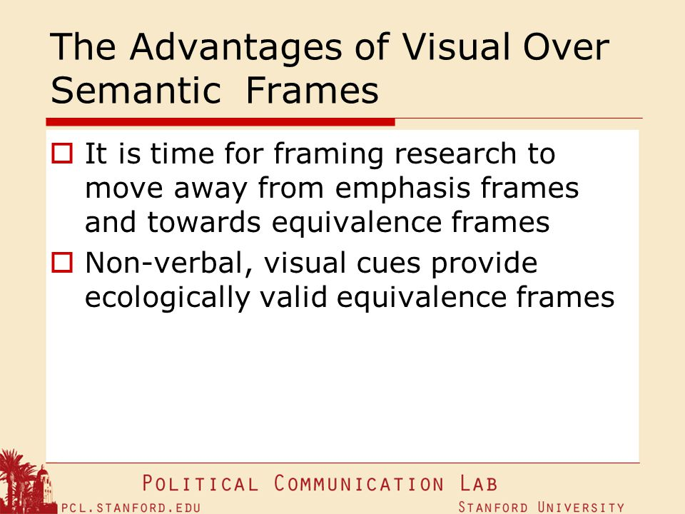 The Advantages of Visual Over Semantic Frames