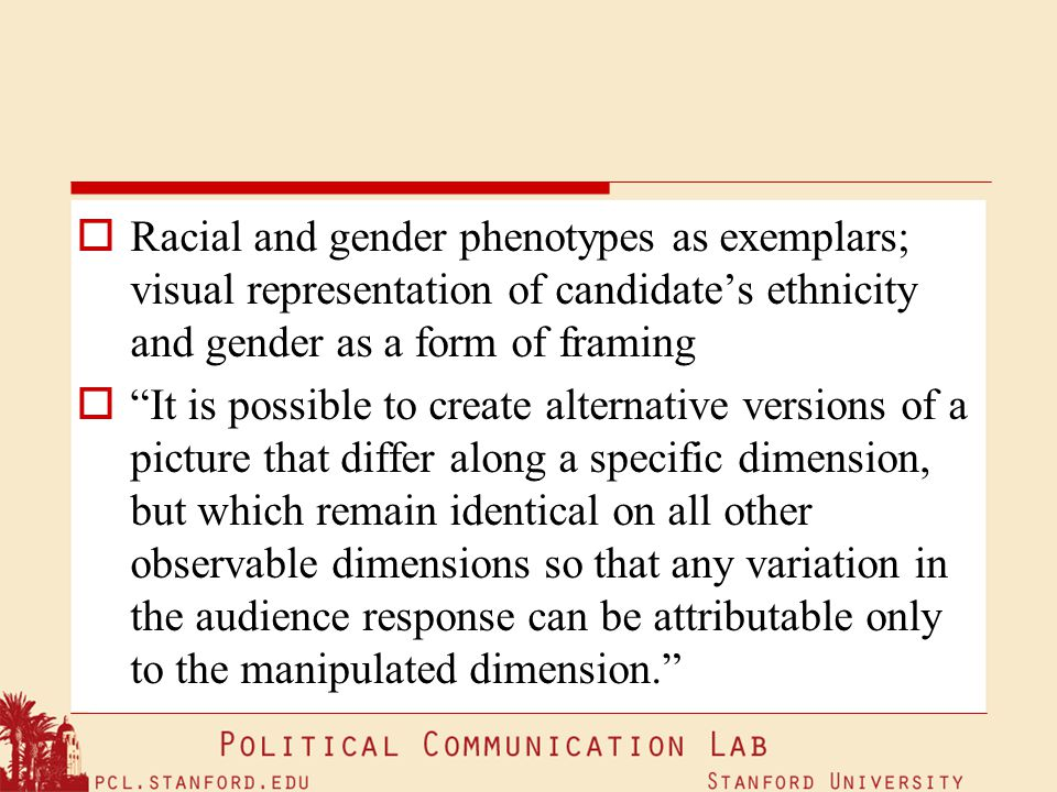Racial and gender phenotypes as exemplars; visual representation of candidate's ethnicity and gender as a form of framing