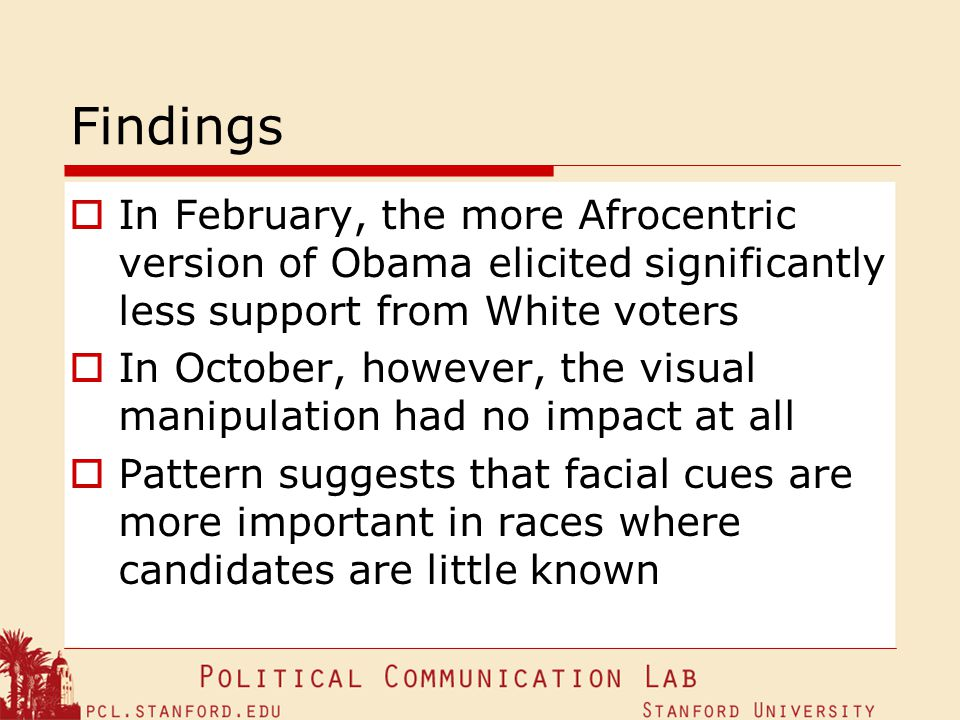 Findings In February, the more Afrocentric version of Obama elicited significantly less support from White voters.