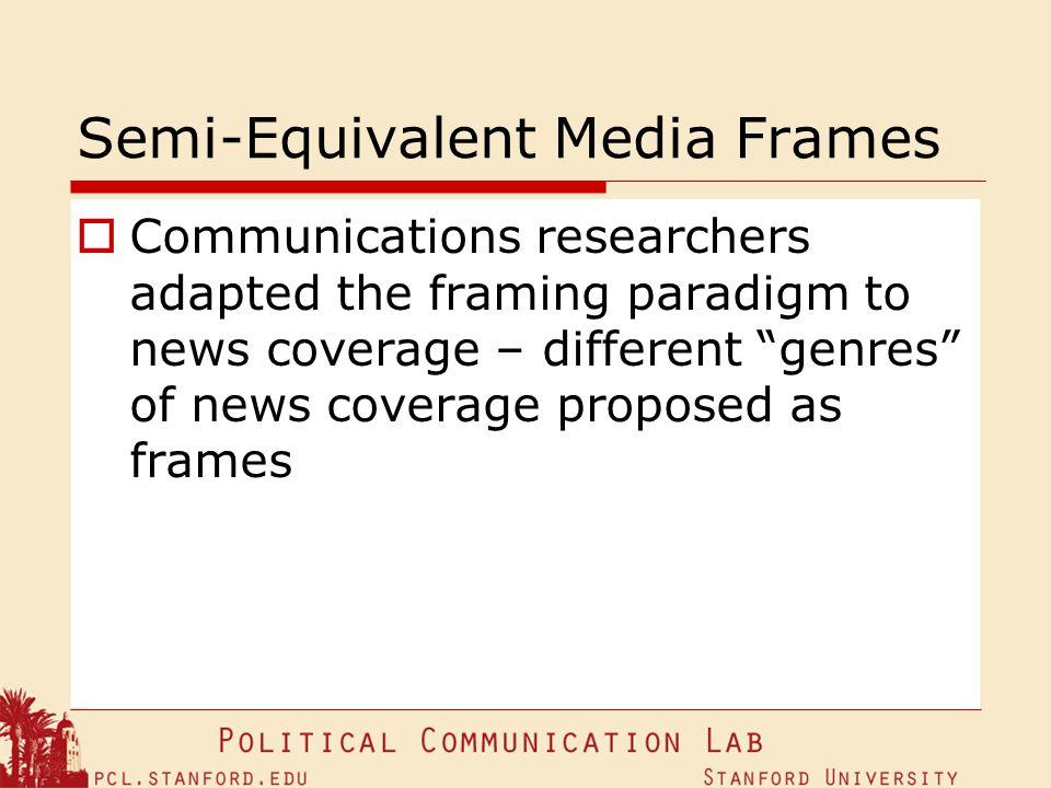 Semi-Equivalent Media Frames