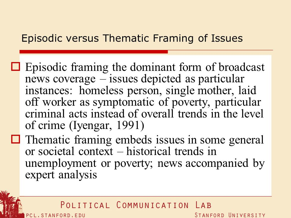 Episodic versus Thematic Framing of Issues