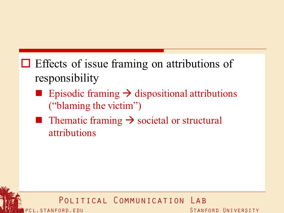 Effects of issue framing on attributions of responsibility