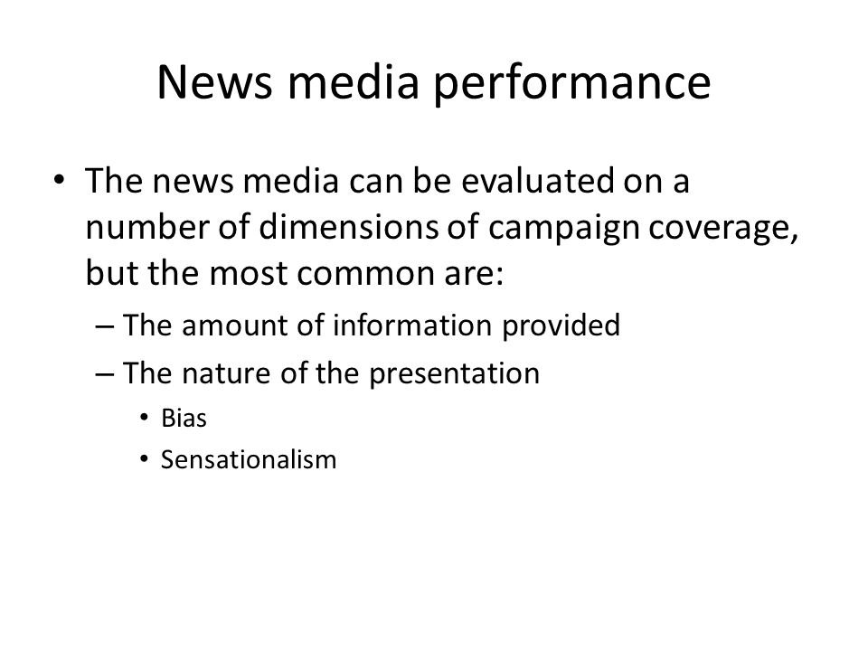 News media performance