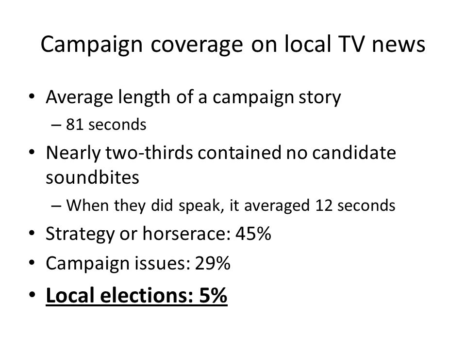 Campaign coverage on local TV news