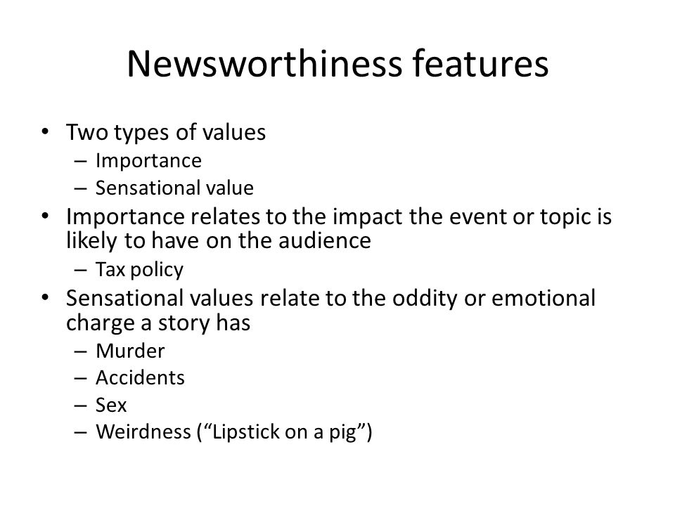 Newsworthiness features