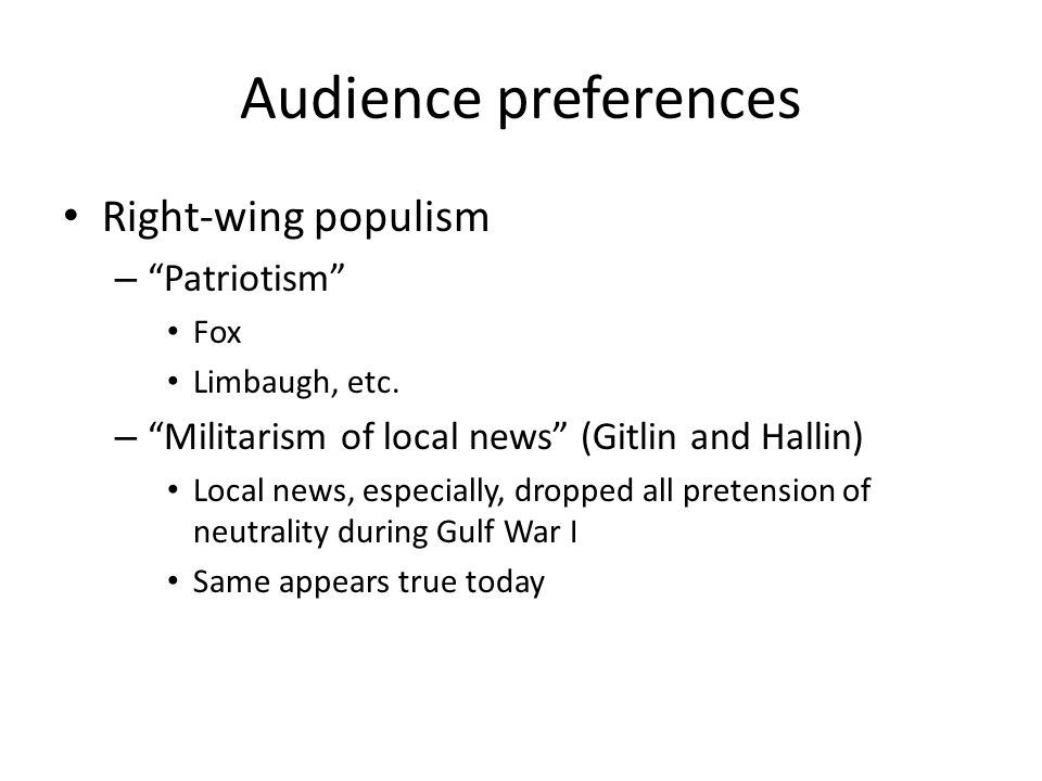 Audience preferences Right-wing populism Patriotism