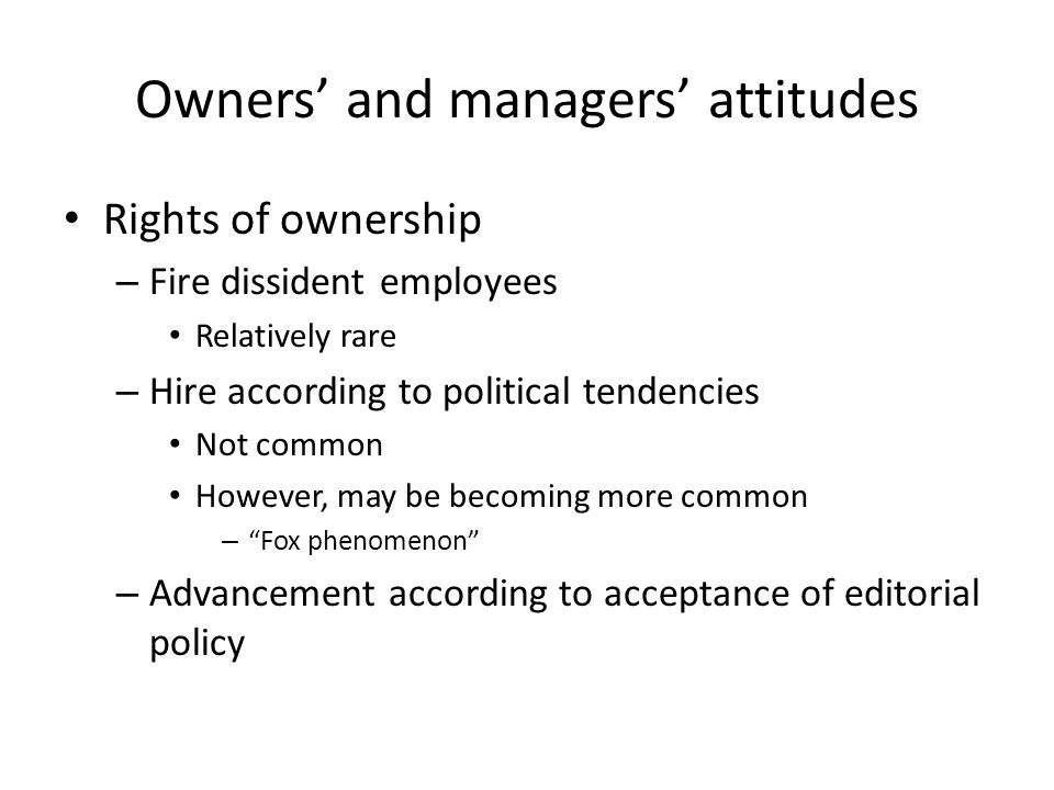 Owners' and managers' attitudes