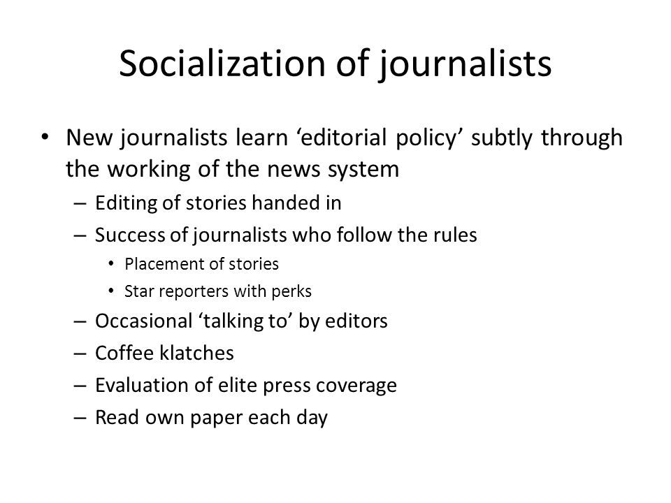 Socialization of journalists