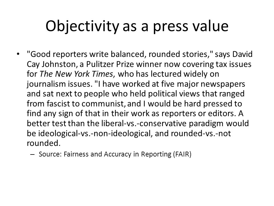 Objectivity as a press value