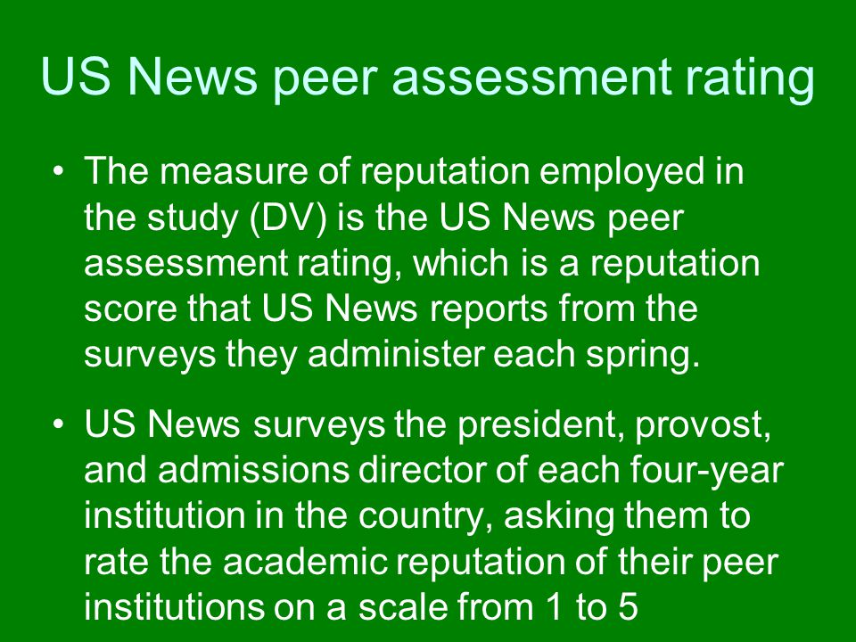US News peer assessment rating