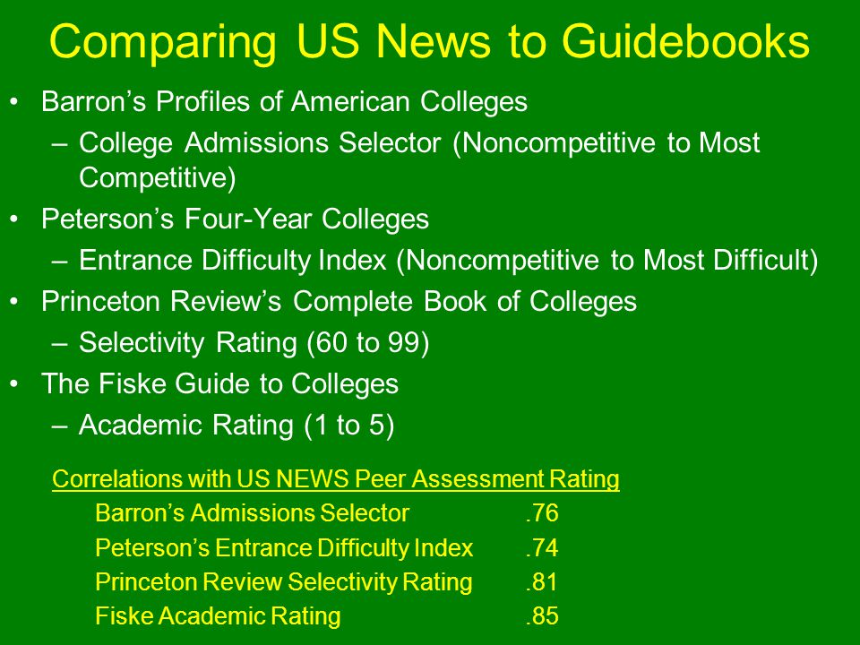 Comparing US News to Guidebooks