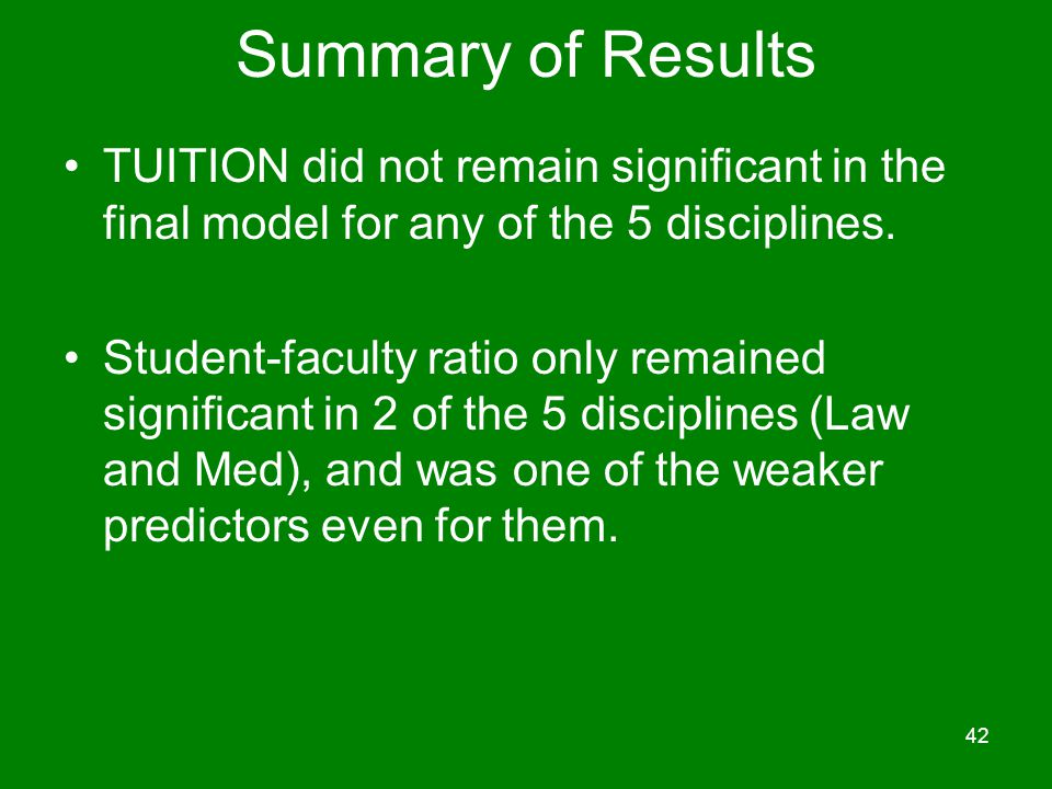 Summary of Results TUITION did not remain significant in the final model for any of the 5 disciplines.