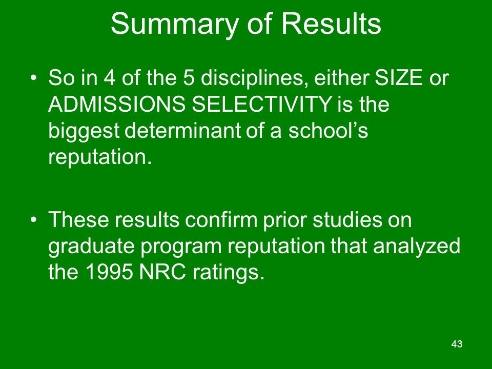 Summary of Results So in 4 of the 5 disciplines, either SIZE or ADMISSIONS SELECTIVITY is the biggest determinant of a school's reputation.