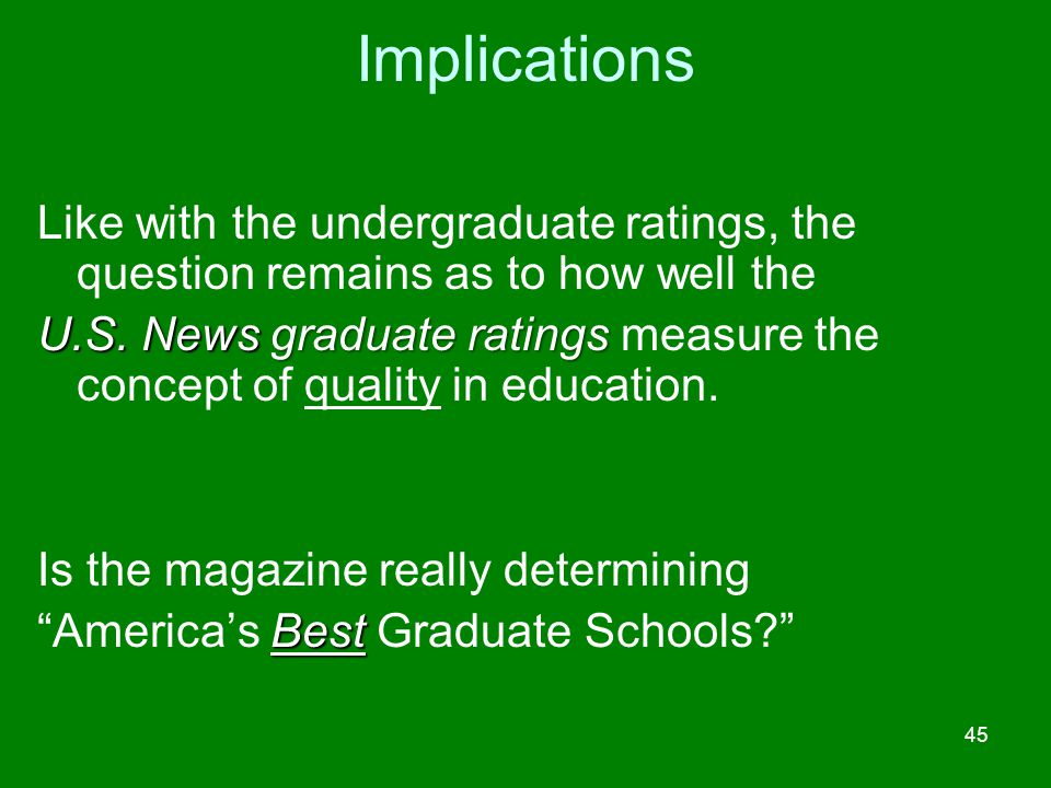 Implications Like with the undergraduate ratings, the question remains as to how well the.
