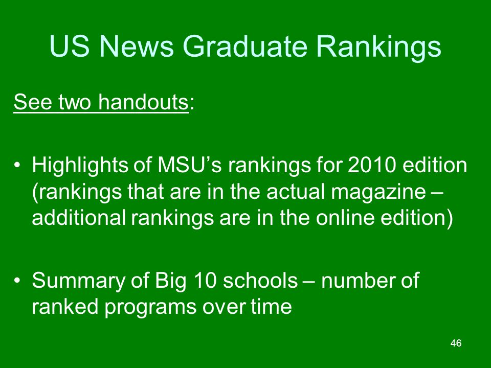 US News Graduate Rankings