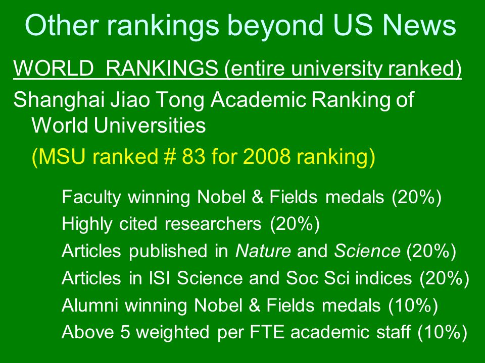 Other rankings beyond US News