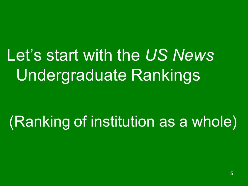 (Ranking of institution as a whole)