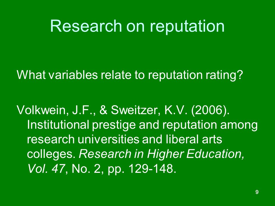 Research on reputation