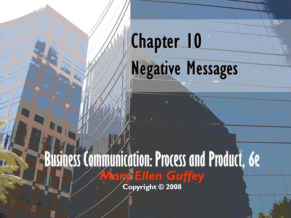 Chapter 10 Negative Messages