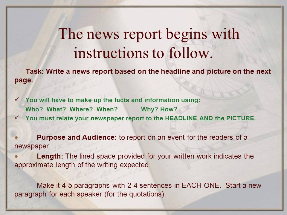The news report begins with instructions to follow.